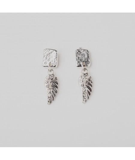 Pendientes alas de plata cristales