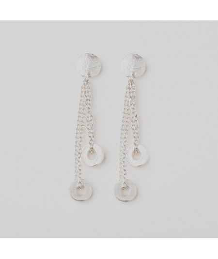 Pendientes cadena de aros de plata