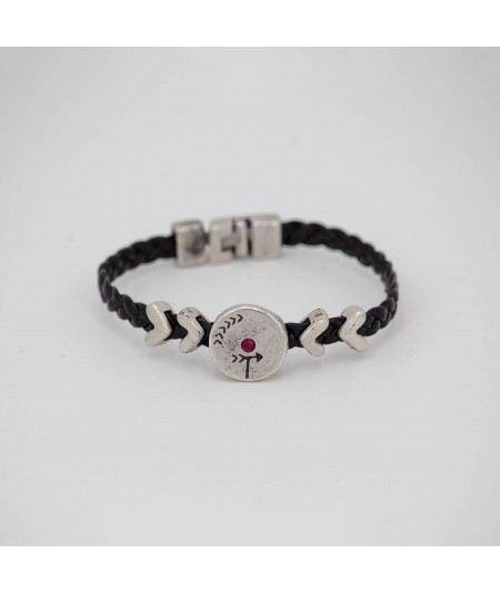 Pulsera piel negra Be Light